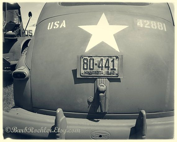 1942 Army Ford - United States - Black & White - 1940's - War Photography - Vintage Military Images - 8x10 - Military