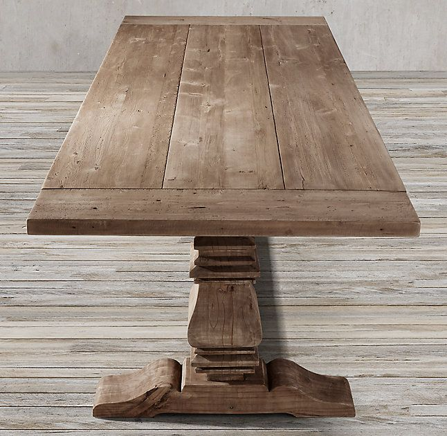 Amazing RH s Salvaged Wood Trestle Rectangular Extension Dining Table Our salvaged wood trestle table is handcrafted of unfinished solid salvaged pine timbers from Review - New refurbished wood table For Your Plan