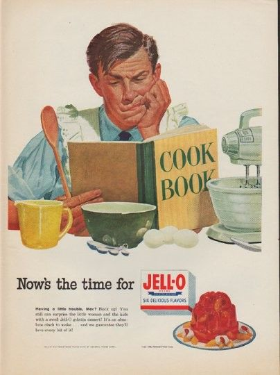 """1952 JELL-O vintage print advertisement """"Cook Book"""" ~ Now's the time for Jell-O ... Having a little trouble, Mac? Buck up! You still can surprise the little woman and the kids with a swell Jell-O gelatin dessert! It's an absolute cinch to make ... and we guarantee they'll love every bit of it! ~"""