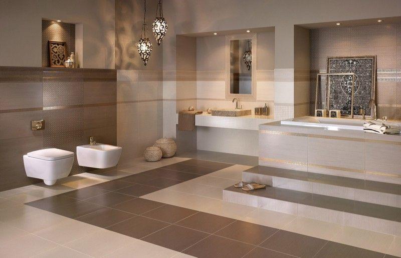 Charmant Badezimmer Beige Modern Gestalten Sandfarbe Fliesen Braun