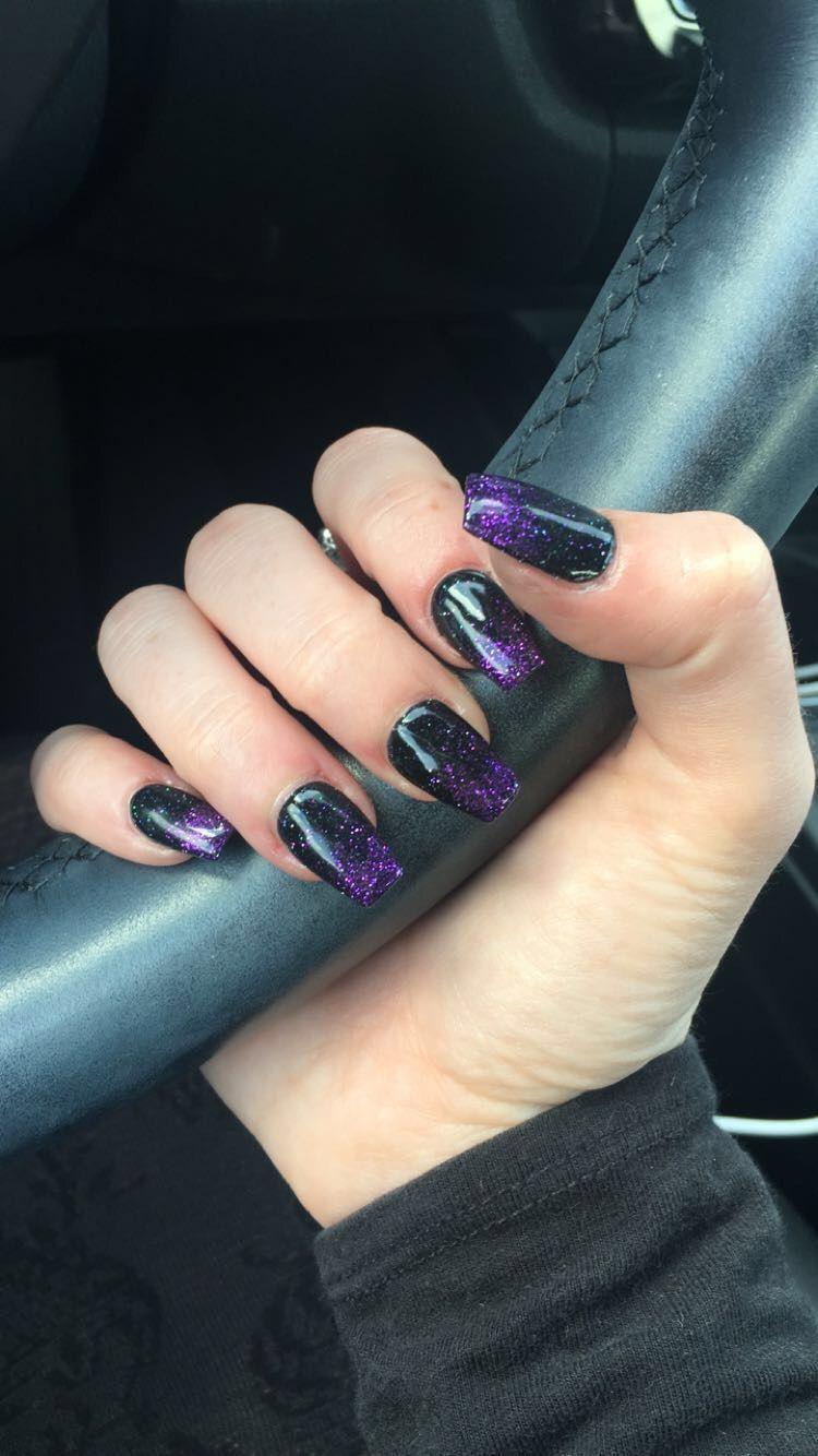Blacknails Purple Ombre Glitter Coffin Purplenails Acrylicnails Halloween Nails Glitte Black And Purple Nails Purple Ombre Nails Purple Acrylic Nails