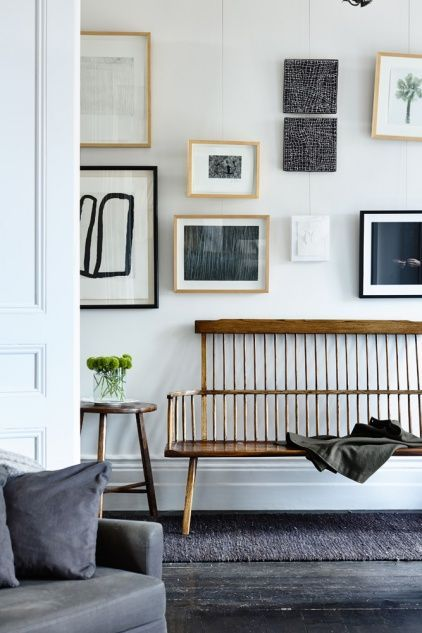 Shelves White Walls And Entry Ways: Gallery Wall Love! But Also That Bench.