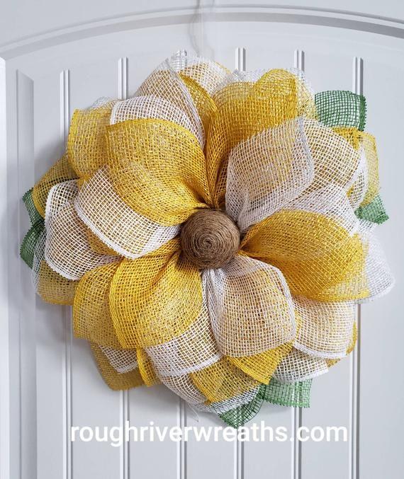 Photo of Sunflower Wreath, Burlap Sunflower Wreath, Colorful Burlap Wreath, Everyday Wreath, Sunflower Door Hanger, Colorful Burlap Wreath