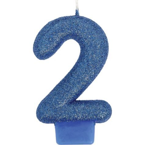 Glitter Royal Blue Number 2 Candle 3in - Party City