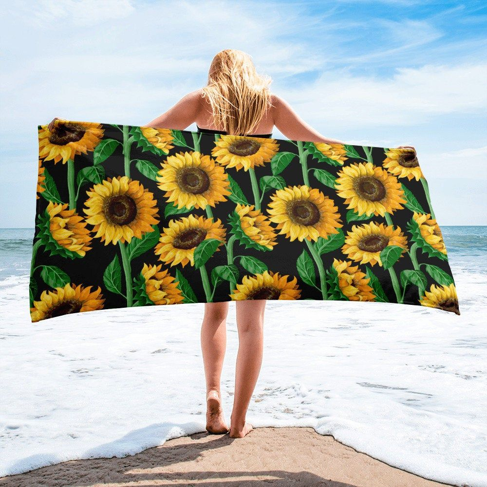 Large Beach Towel 30 X 60 Inch Towel Bath Towel Sunflowers