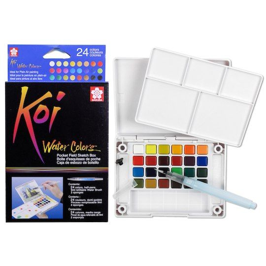 Koi Water Colors Pocket Field Sketch Box 24 Colors Art