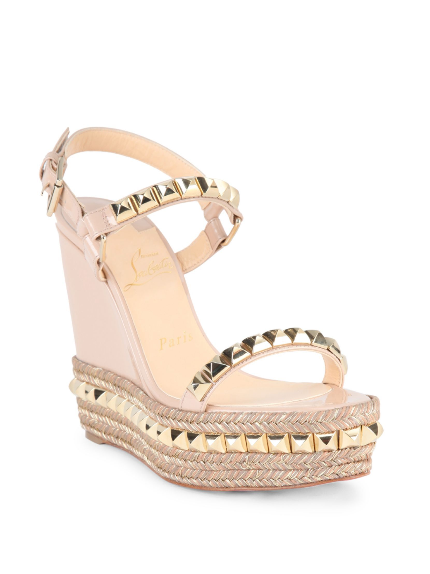 Christian Louboutin Cataclou 120 Studded Patent Leather Espadrille Wedge  Sandals