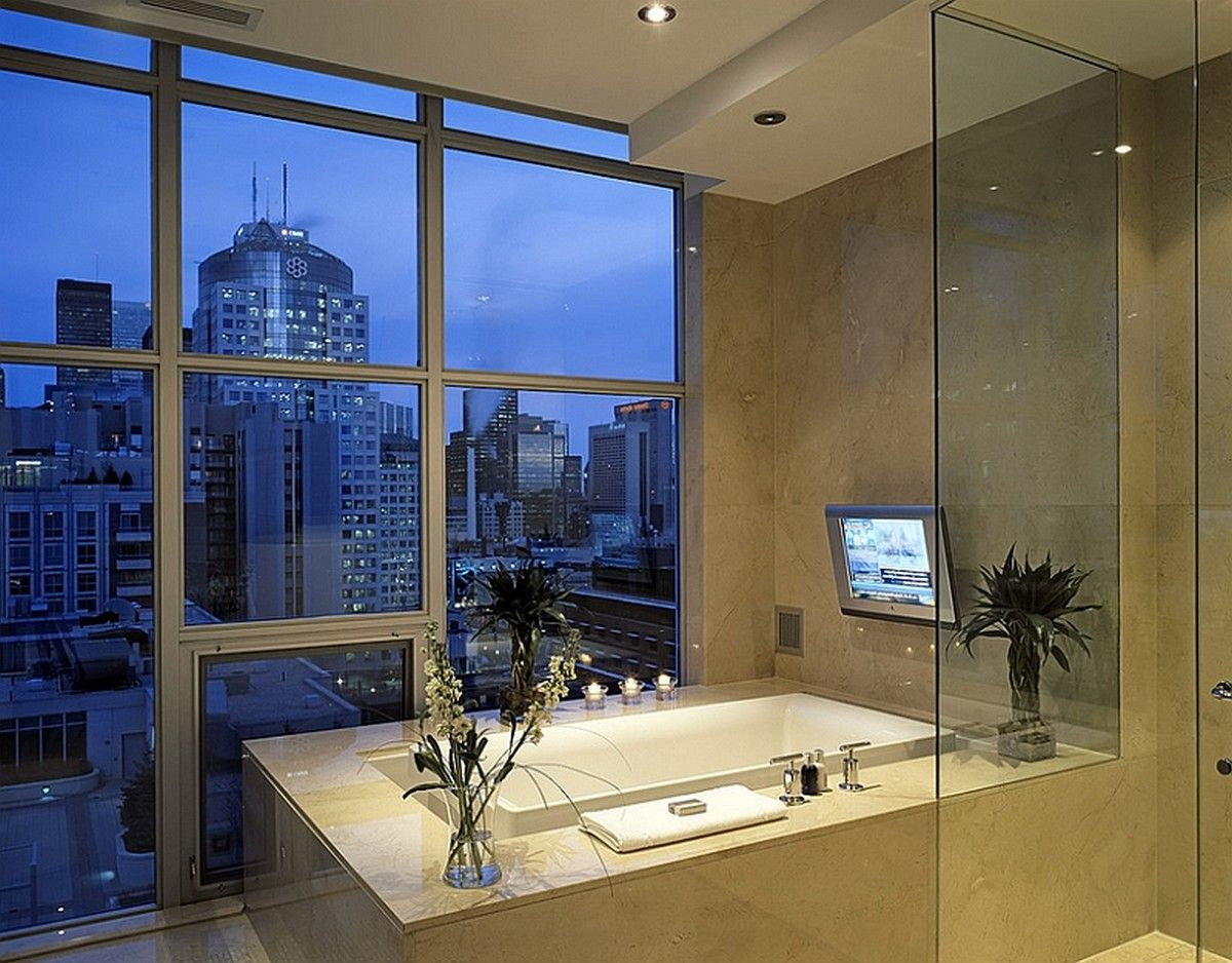 Wonderful-Contemporary-bath-with-a-view-of-the-city-skyline-also ...