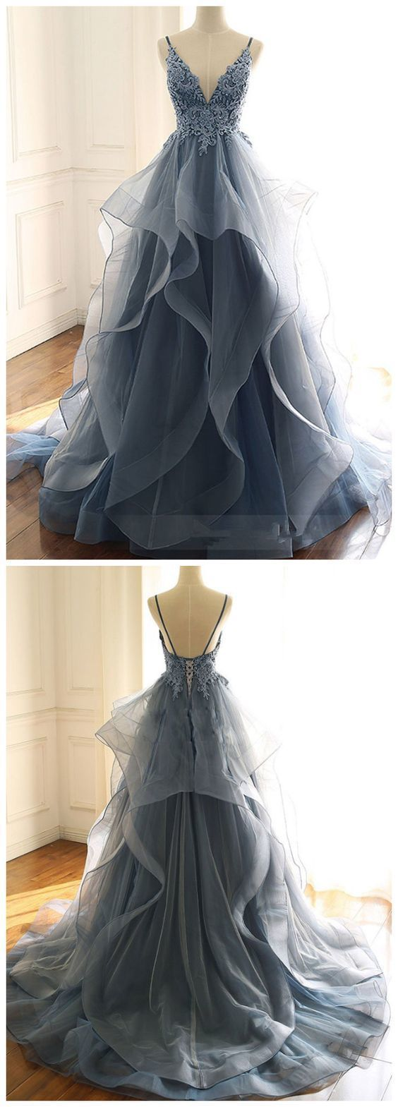 Photo of TULLE LACE LONG PROM DRESS, BLUE EVENING DRESS