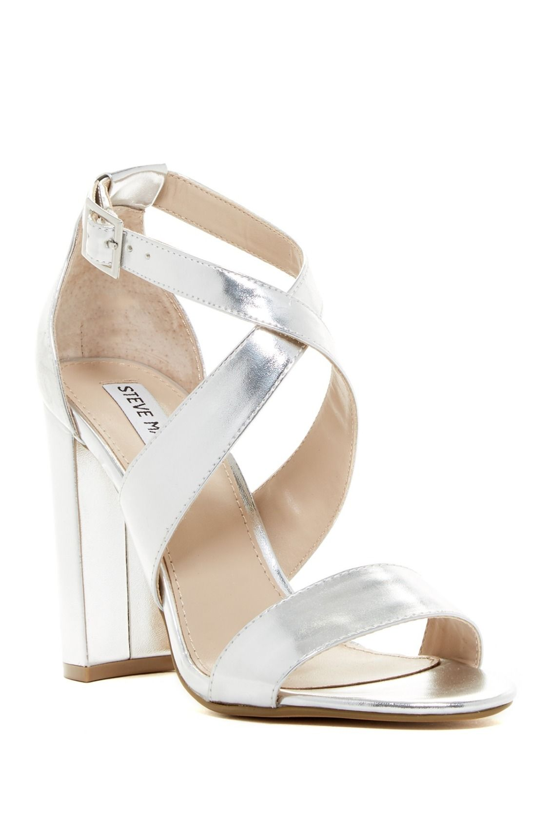 be77da497 Shine in these Silver Steve Madden Caliopi Chunky Heel Sandals ...