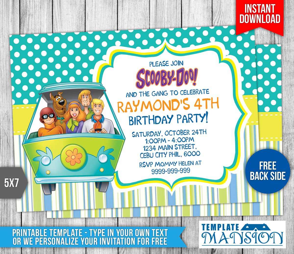 Free Scooby Doo Birthday Invitation Scooby doo Party Pinterest