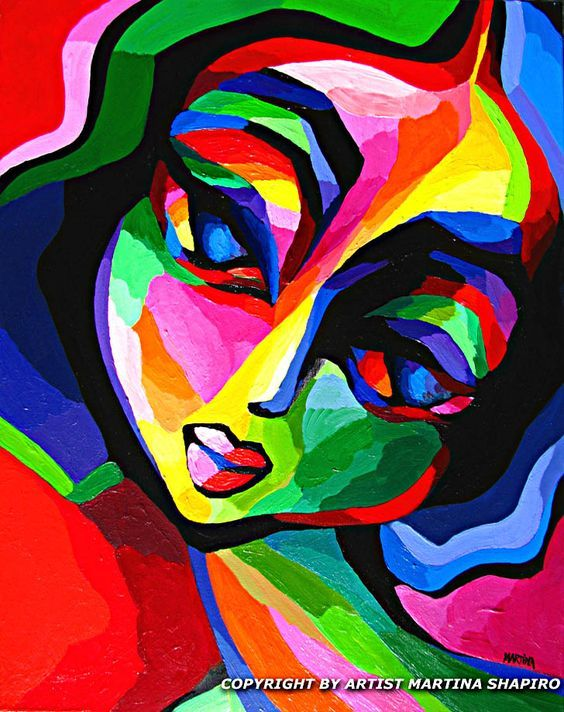Colors Of Emotion original contemporary woman painting by artist Martina Shapiro, abstract female figure: