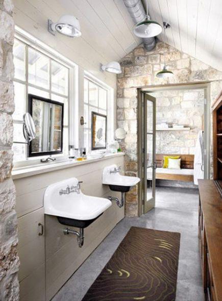 Stone Wall Bath With Utility Sinks U2013 Ryann Ford Via Atticmag