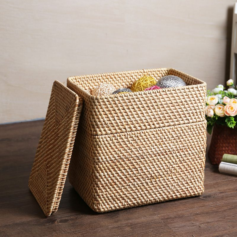 Find More Storage Boxes U0026 Bins Information About Rattan Overlapping Rattan  Storage Basket With Cover Debris Storage Box Storage Box Finishing Snacks  S,High ...