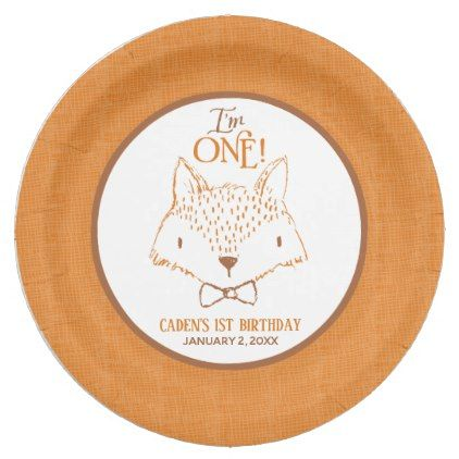 sc 1 st  Pinterest & Mister Fox First Birthday Personalized Paper Plate | Mr fox