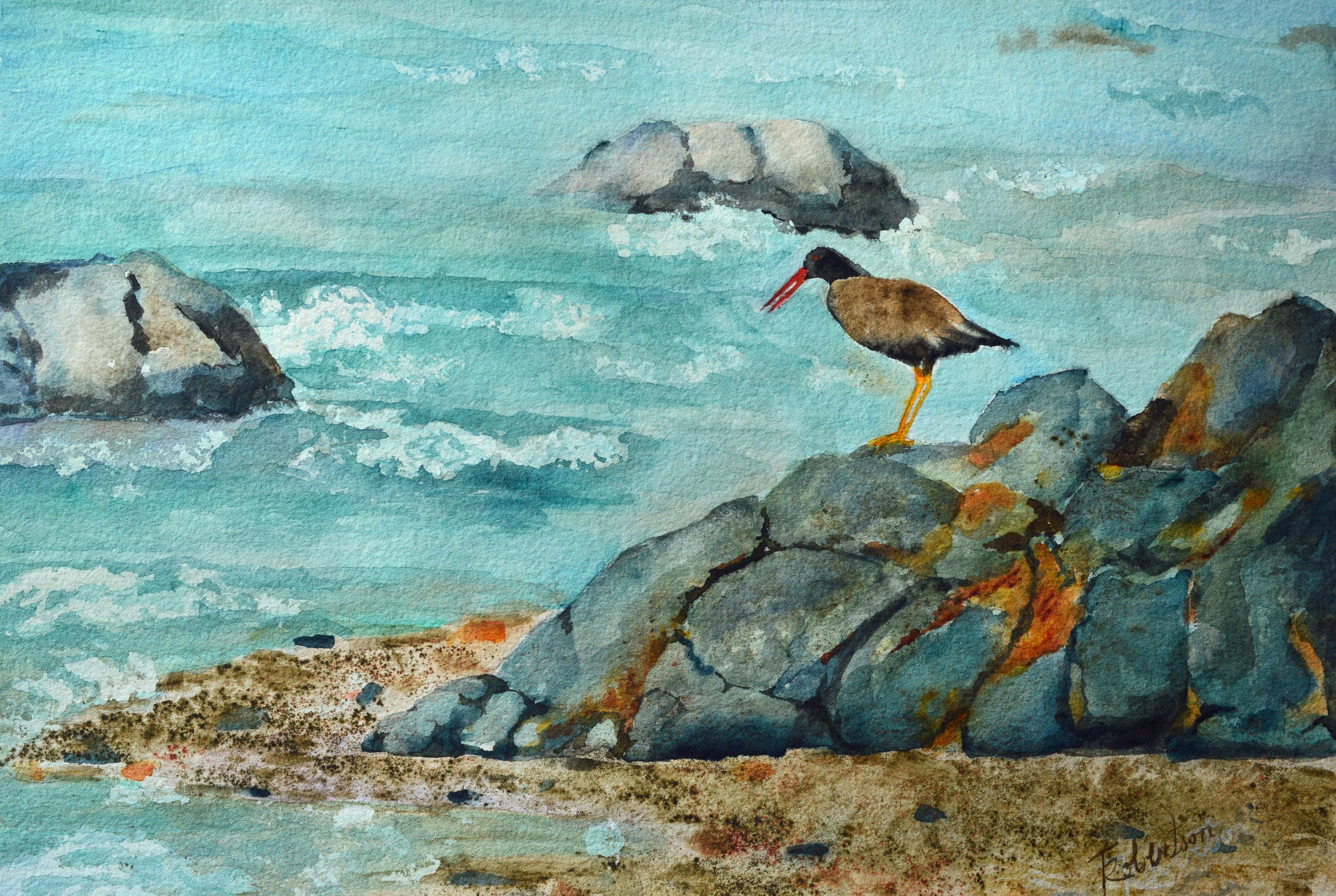 Original Ocean Watercolor Fine Art Painting Bird Seascape