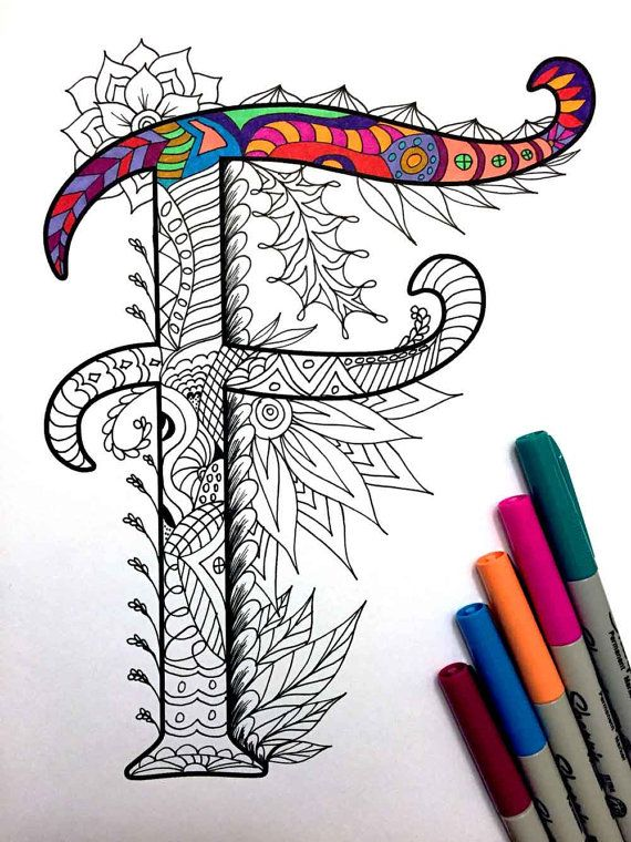 Letter F Zentangle - Inspired by the font \