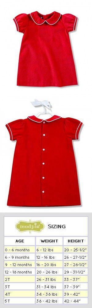 de3fc48520f9 Mud Pie Baby Girls Red Corduroy Dress White Piping Peter Pan Collar ...