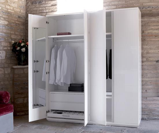2 Door Cupboard Inside Designs minimalist white colored four doors wardrobe design in brick walls