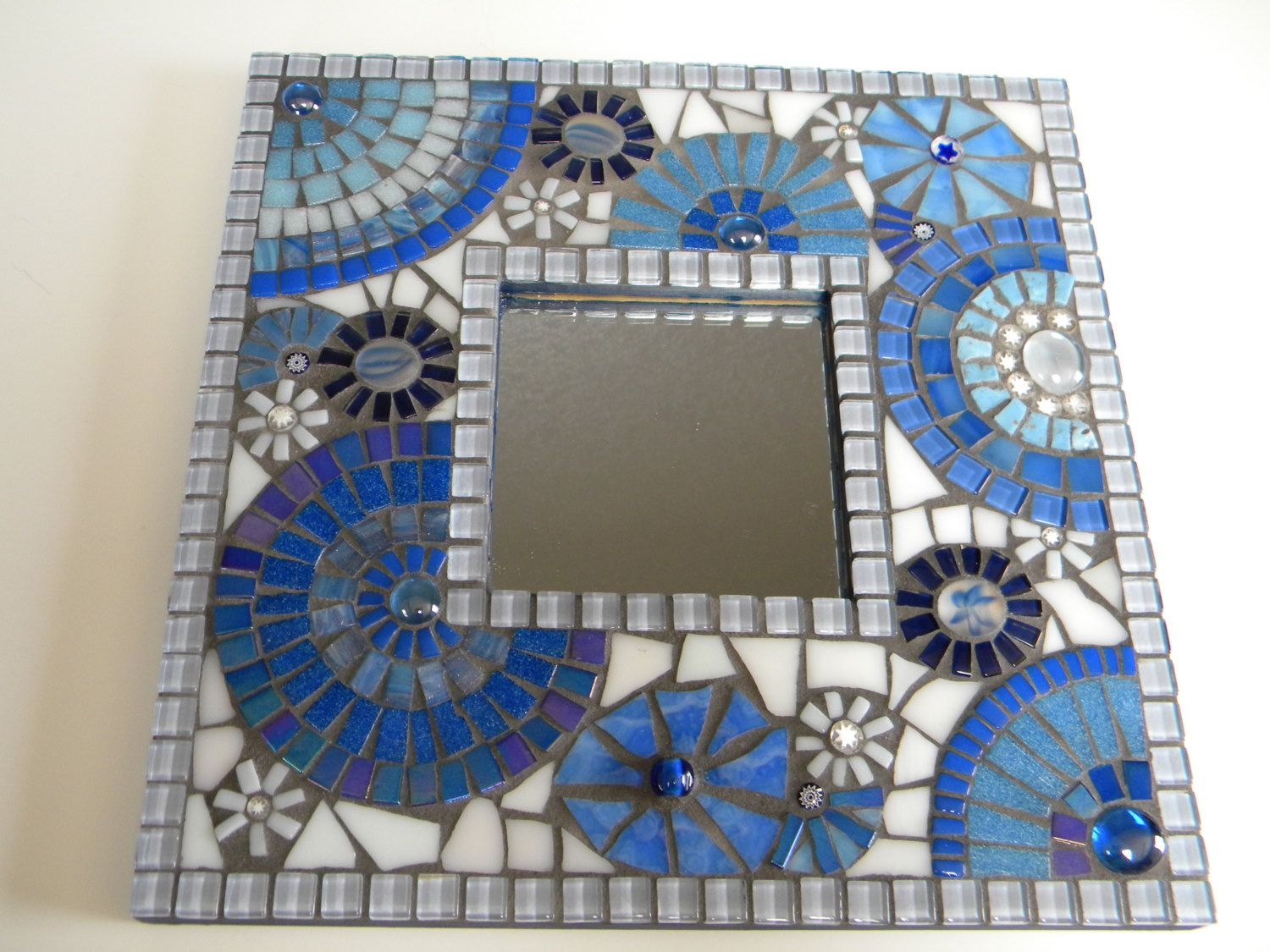 Spiegel Mosaik Blue & White Square Mosaic Mirror - Original Art | Mosaics