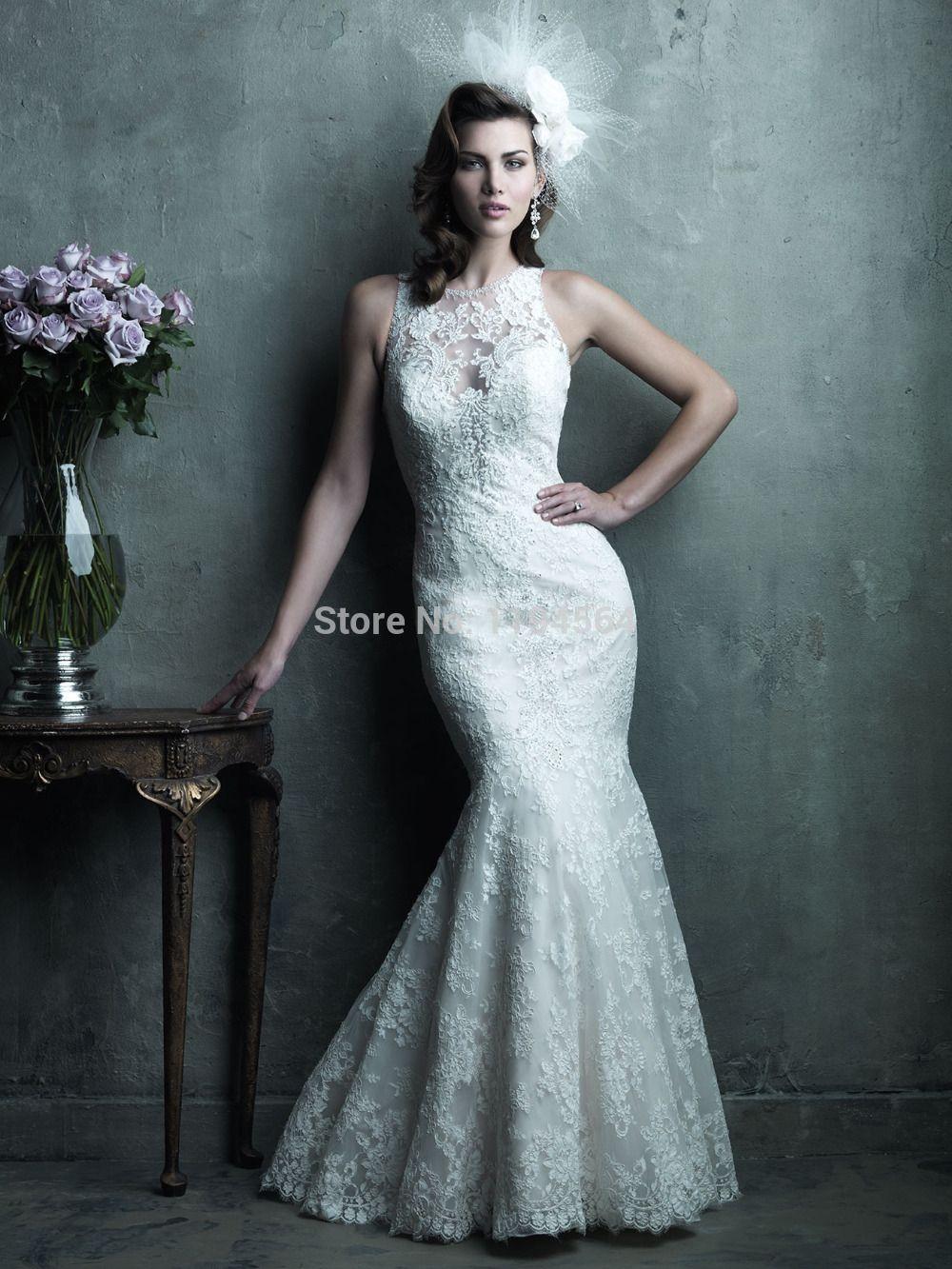 Sheer neck robe de mariage lace mermaid wedding dresses see through