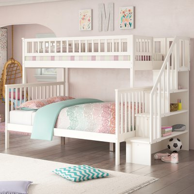Viv Rae Shyann Staircase Twin Over Full Bunk Bed With Shelves Wayfair In 2020 Bed For Girls Room Kids Bunk Beds Girls Bunk Beds
