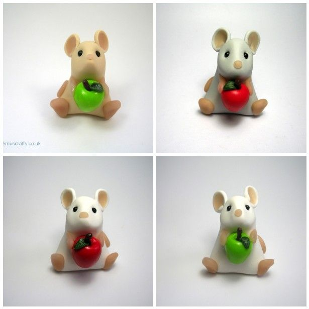 Little Mouse with Apple Teacher's Gift Ornament Sculpture Cake Topper £15.00