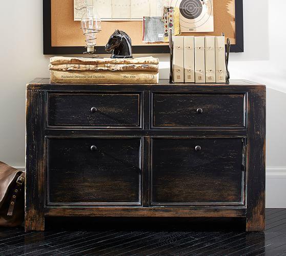 Dawson Wood 2 Drawer File Cabinet Weathered Black Finish