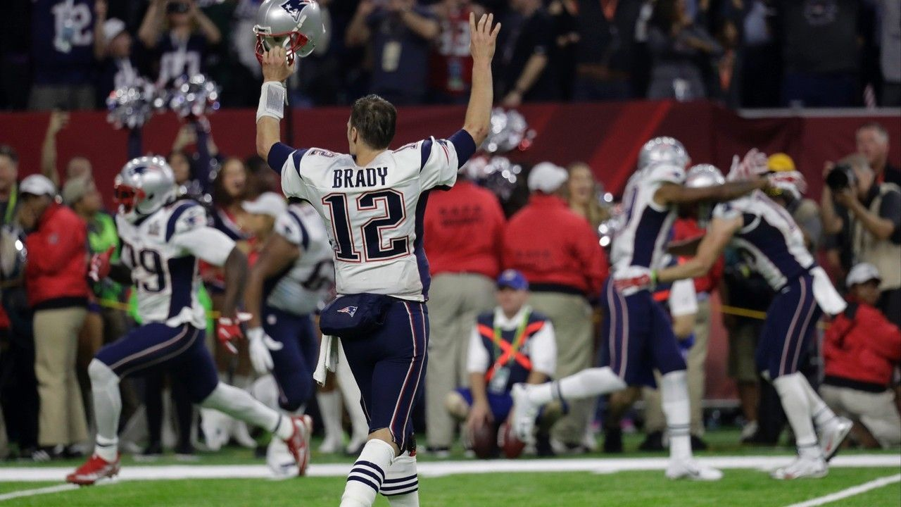 Patriots Rally From 25 Down Stun Falcons In First Overtime Super Bowl With Images Brady Super Bowl Super Bowl New England Patriots Merchandise