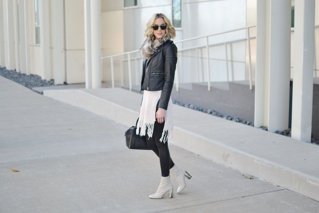fringe hem tunic sweater, leather jacket, faux fur scarf, leather leggings, cream boot by @straightastyle
