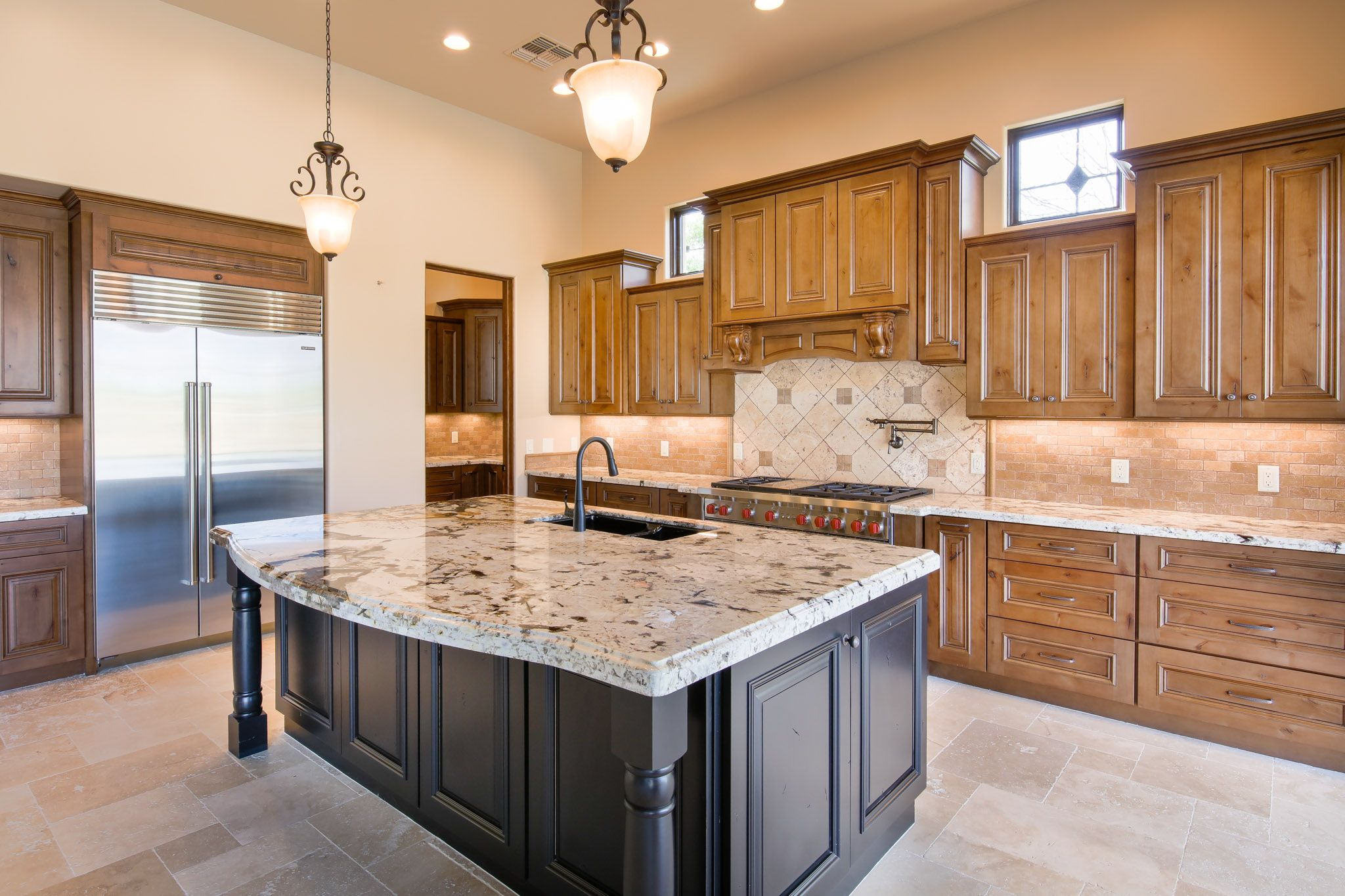 Design Your Kitchen With Wood Stained Cabinets And An Accent Painted Island Like This One Sh Stained Kitchen Cabinets Custom Kitchen Cabinets Staining Cabinets