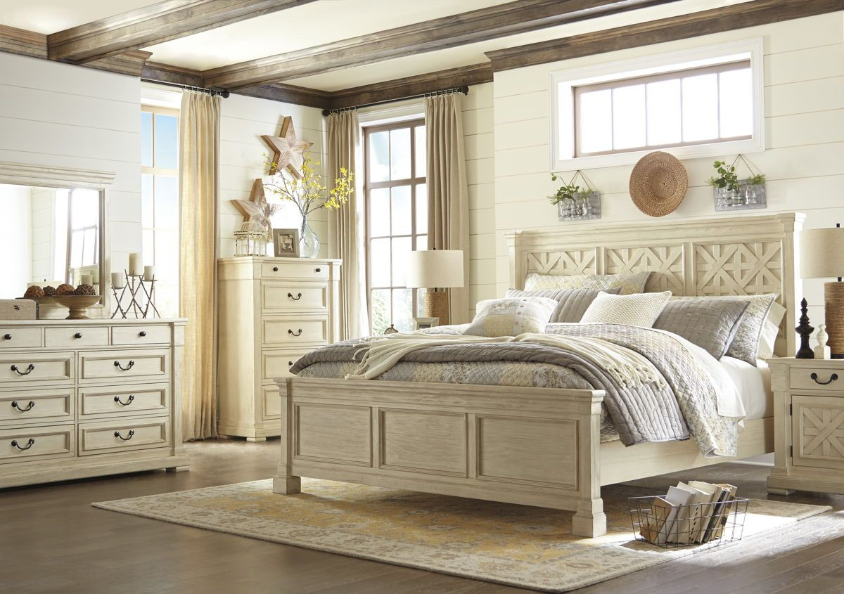 Bolanburg Casual White Solid Wood Master Bedroom Set White Paneling Bedroom Set Bedroom Furniture Sets