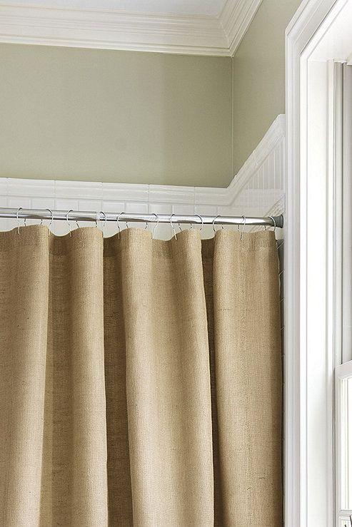 Burlap Shower Curtain With Bullion Fringe In 2020 Burlap Shower