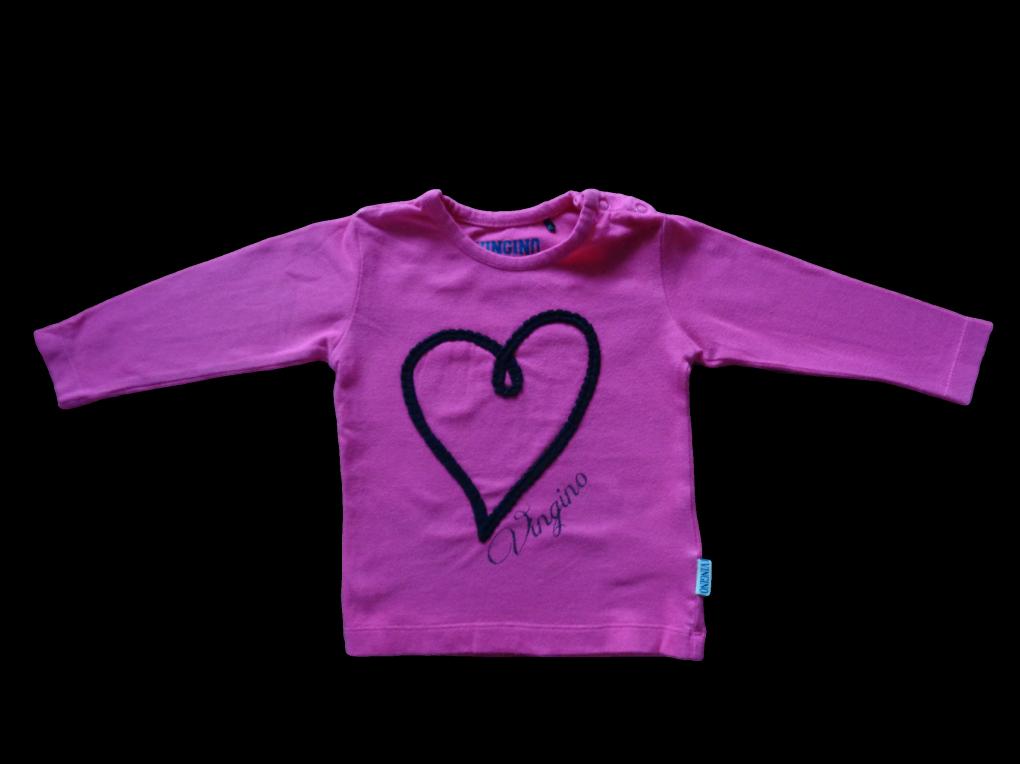 Maat 74 Longsleeve Roze met hart voor  Merk Vingino
