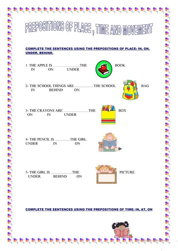 PREPOSITIONS OF PLACE, TIME AND MOVEMENT | new | Prepositions ...