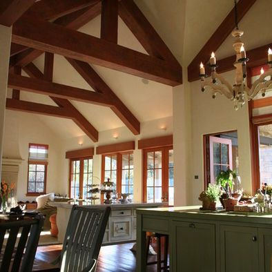 Open Plan + Kitchen + Dining Room + Family Room + Rustic + Wood + Beams Design, Pictures, Remodel, Decor and Ideas - page 6