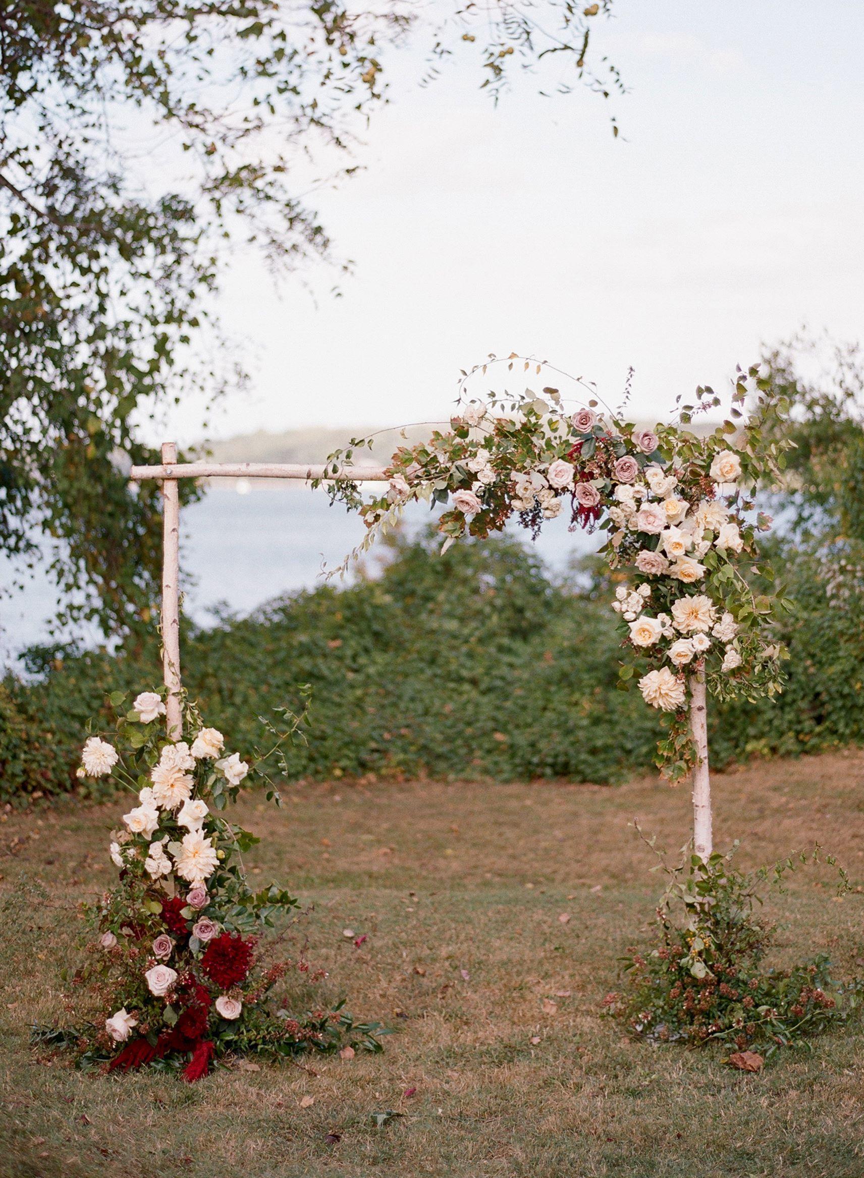Birch wood arch rustic wedding aisle decor photography