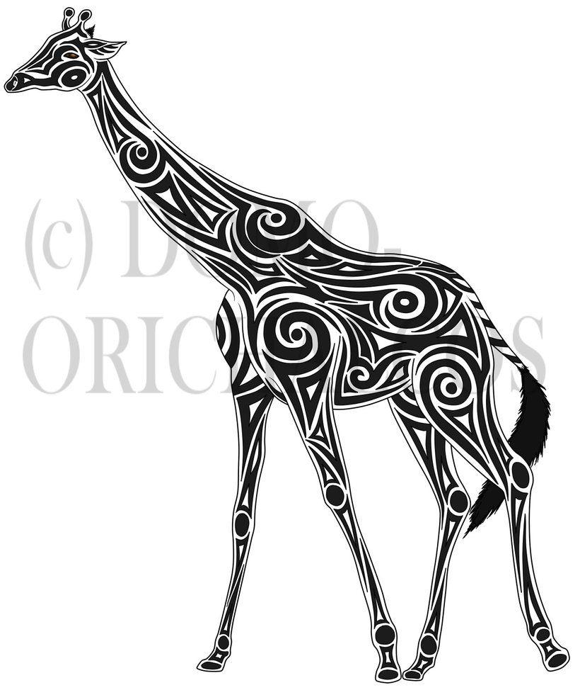 Awesome Tribal Giraffe Tattoo