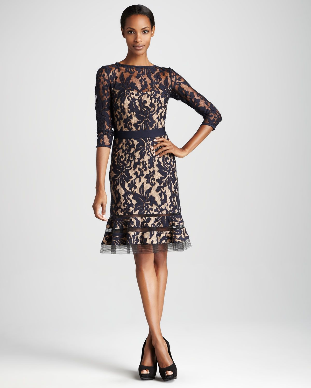 9185022e7a5 Three-Quarter Sleeve Lace Cocktail Dress - Neiman Marcus. Tadashi Shoji ...