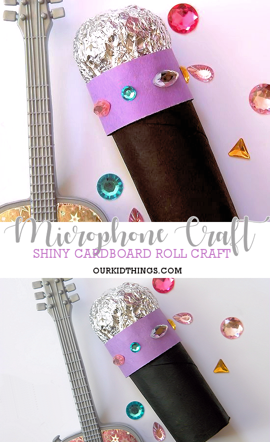 Cardboard Roll Sparkly Microphone Craft Kid Things Crafts For