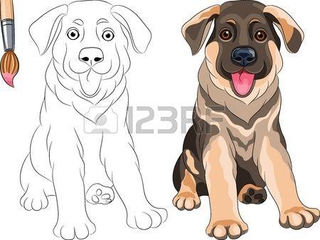 Vector Libro para colorear para los niños del divertido perro ...
