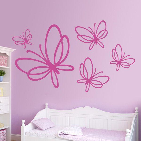 Este vinilo decorativo est compuesto de cinco mariposas for Vinilos decorativos juveniles nina