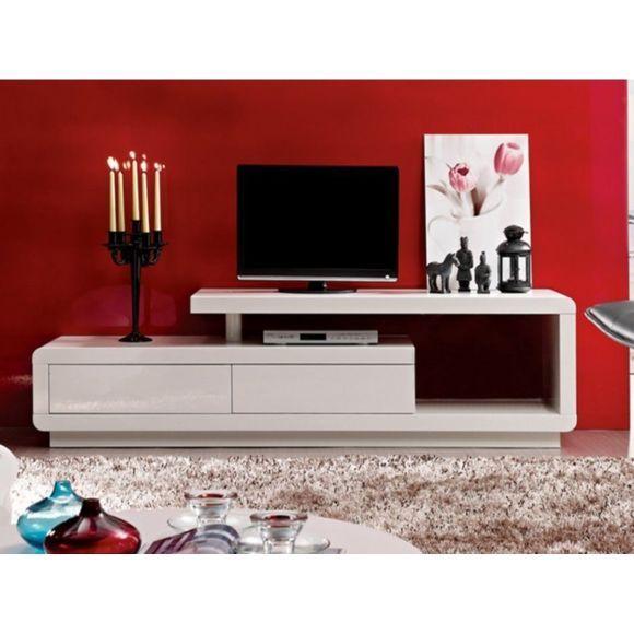 vente unique meuble tv artaban 2 tiroirs mdf laqu blanc - Meuble Tv Blanc Vente Unique