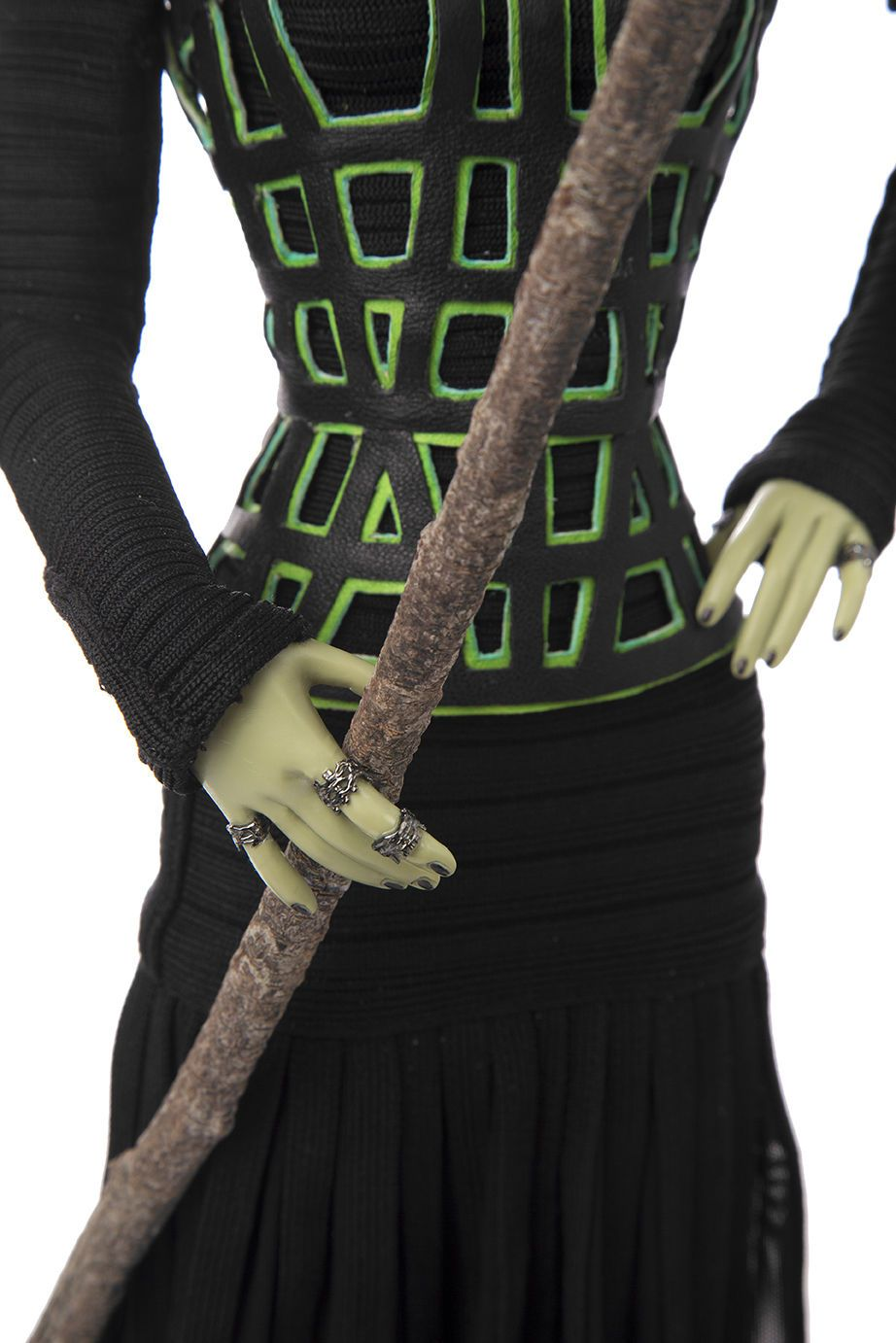 The Wizard of Oz The Wicked Witch of the West Tonner Doll by Hervé Léger  #TheWickedWitch by #HerveLeger for #WizardOfOz75 collection #TNPLH #HabitatForHumanity // #nyfw New York Fashion Week 2014 charity auction / designer / collectible / Tonner Doll / green / high pony tail / mask / feather broom / black dress / green corset / long sleeves / turtle-neck / midi rings