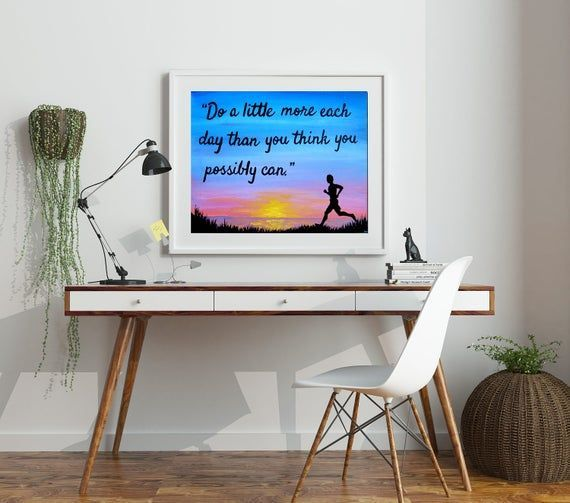 Inspirational Quote Prints - Gym Motivation Fitness Art - Motivational Quotes Marathon Art Gifts for...