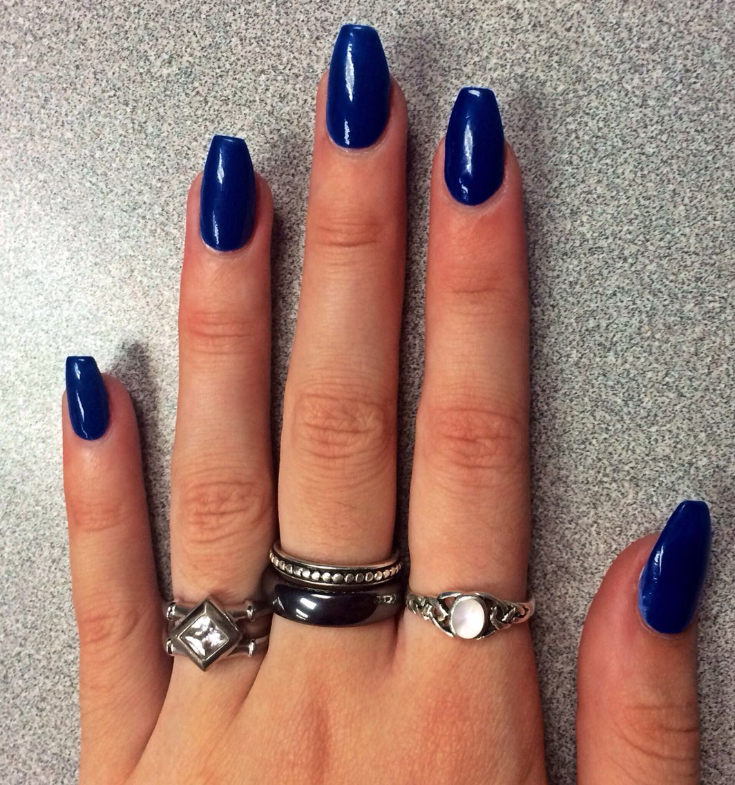 Dark blue long coffin shapes nails. Perfect nail color for fall ...