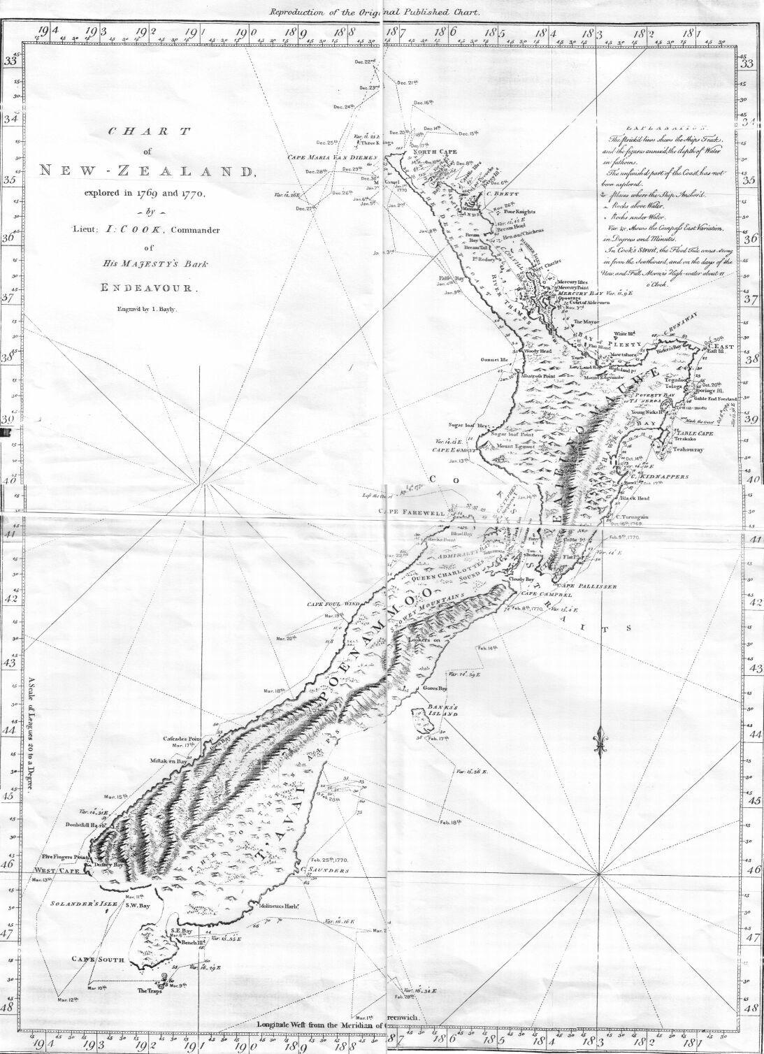 Map Of Australia 1770.Cook Chart Of New Zealand 1770 Maps Of Australia Australasia