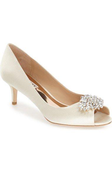 Badgley Mischka Sensation Peep Toe Pump Women In Ivory Wedding Shoes Heels Bridesmaids Heels Kitten Heel Wedding Shoes