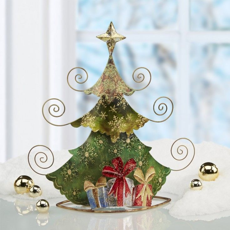 Metal Tabletop Card Holder - Holiday Tree