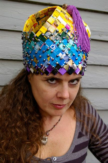 Handwoven Paper Hat Recycled Dog Food Bag Wearable Art By Rayela 29000